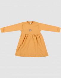 Ribstrikket uldkjole til baby gul