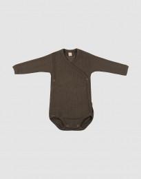 Slå-om body i ribstrikket uld til baby mørk chokolade