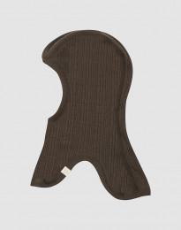 Elefanthue i ribstrikket merino uld mørk chokolade