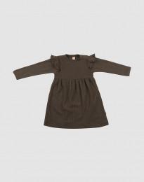 Ribstrikket uldkjole med flæser til baby mørk chokolade