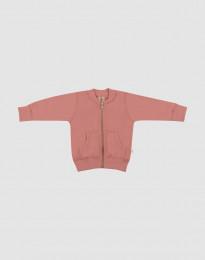Baby jakke i uldfrotté mørk mørk Rosa
