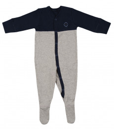 Baby heldragt m/fødder i økologisk bomuld navy/gråstribet