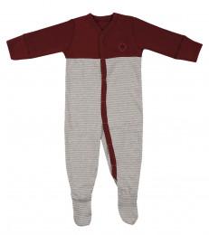 Baby heldragt m/fødder i økologisk bomuld bordeaux rød/gråstribet