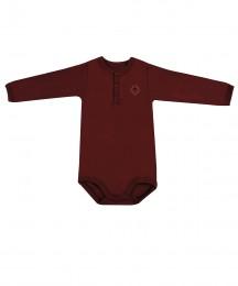 Langærmet baby body i økologisk bomuld bordeaux rød