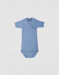 Slå-om body i økologisk bomuld til baby blå