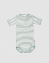 Baby body m/kort ærme i økologisk uld-silke pastelgrøn/natur