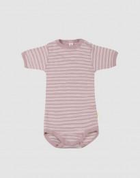 Baby body m/kort ærme i økologisk uld-silke pastelrosa/natur