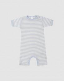 Sommerdragt til baby i økologisk uld-silke blå/natur