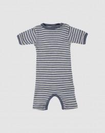 Sommerdragt til baby i økologisk uld-silke blå melange/natur