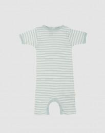 Sommerdragt til baby i økologisk uld-silke pastelgrøn/natur