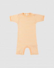 Sommerdragt til baby i økologisk uld-silke abrikos/natur