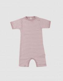 Sommerdragt til baby i økologisk uld-silke pastelrosa/natur