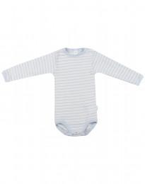 Baby body m/langt ærme i økologisk uld-silke blå/natur