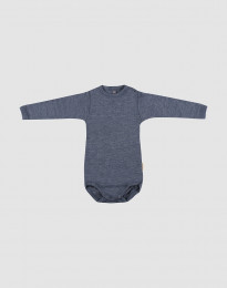 Baby body m/langt ærme i økologisk uld-silke blå melange