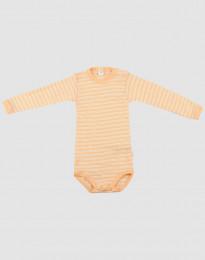 Baby body m/langt ærme i økologisk uld-silke abrikos/natur