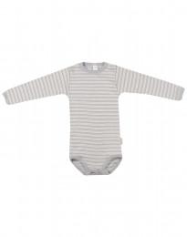 Baby body m/langt ærme i økologisk uld-silke grå/natur