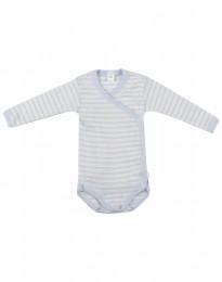 Slå-om body til baby i økologisk uld-silke blå/natur