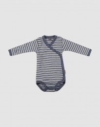 Slå-om body til baby i økologisk uld-silke blå melange/natur