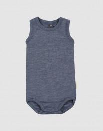 Baby body uden ærmer i økologisk uld-silke blå melange