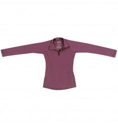 Børnetrøje med lynlås - eksklusiv merino uld støvet lilla