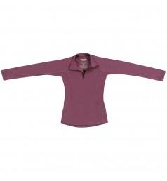 Børnetrøje med lynlås - merino uld støvet lilla