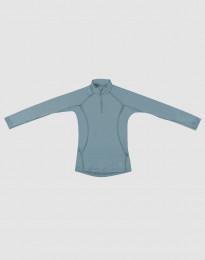 Børnetrøje med lynlås - eksklusiv merino uld mineral blå
