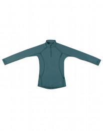 Børnetrøje med lynlås - eksklusiv merino uld turkis grøn