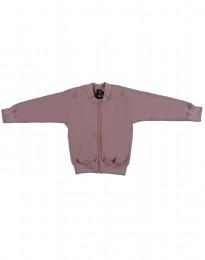 Blouson trøje med lynlås i uldfrotté mørk rosa