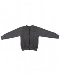Lynlås trøje i uldfrotté til børn mørk gråmelange