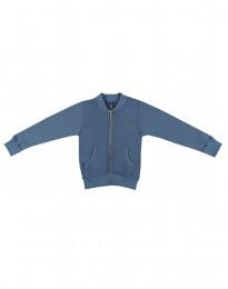 Lynlås trøje i uldfrotté til børn dueblå
