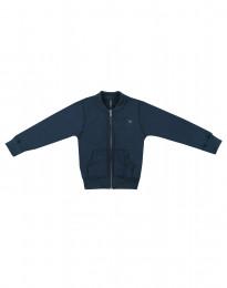 Lynlås trøje i uldfrotté til børn mørk petrolblå