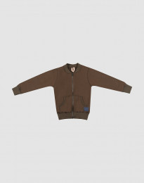 Lynlås trøje i uldfrotté til børn mørk chokolade