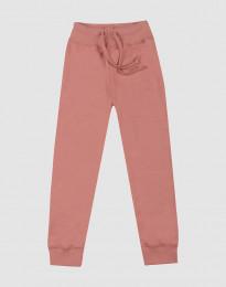 Børnebukser i uldfrotté mørk rosa