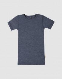 Børne t-shirt i uld-silke blå melange