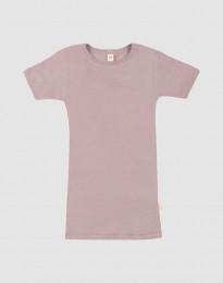 Børne t-shirt i uld-silke pastelrosa