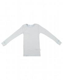 Langærmet trøje til børn i økologisk uld-silke blå/natur