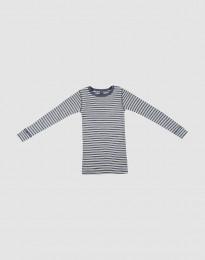 Langærmet trøje til børn i økologisk uld-silke blå melange/natur