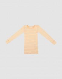 Langærmet trøje til børn i økologisk uld-silke abrikos/natur