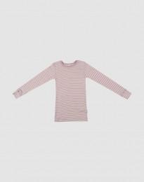Langærmet trøje til børn i økologisk uld-silke pastelrosa/natur