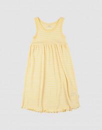 Kjole uden ærmer i økologisk uld-silke Lys gul/natur