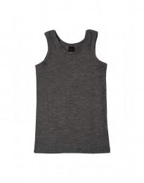 Børne undertrøje - økologisk merino uld mørk gråmelange