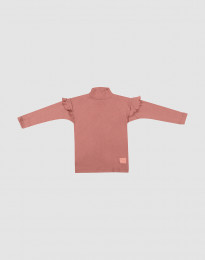 Børne trøje med flæser mørk rosa