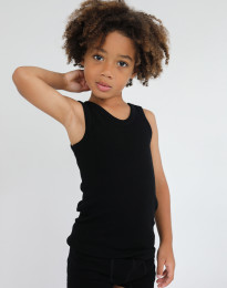 Børne undertrøje - økologisk merino uld sort