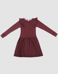 Uldkjole til børn - økologisk merino uld julerød
