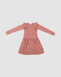 Uldkjole med flæser til børn mørk rosa