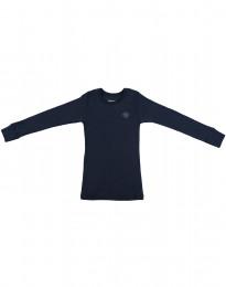 Børne trøje i økologisk merino uld støvet blå