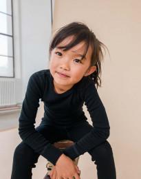 Børne trøje i økologisk merino uld sort