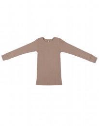 Børne trøje i bred uldrib støvet rosa