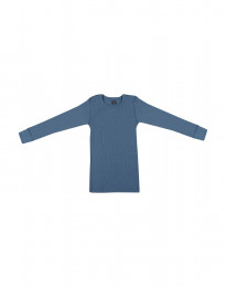 Børne trøje i bred uldrib dueblå