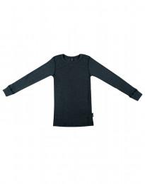 Børne trøje i bred uldrib mørk petrolblå